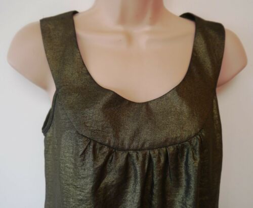 Womens Top Size 8 10 12 New Ladies Antique Gold Shimmer Scoop Neck Sleeveless
