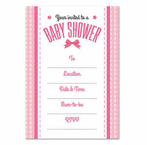 Image Is Loading Baby Shower Blank Invitation Pack Of 16 S