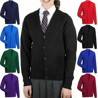 Boys Kids Plain Fleece Lined School Cardigan Sweatshirt Uniform Ages 2-14