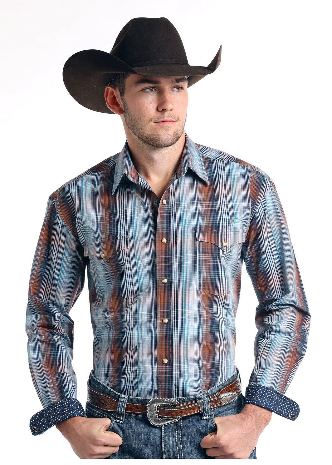 Panhandle Slim Men's bluee & Brown Ombre Plaid Snap Up Western Shirt R0S7583