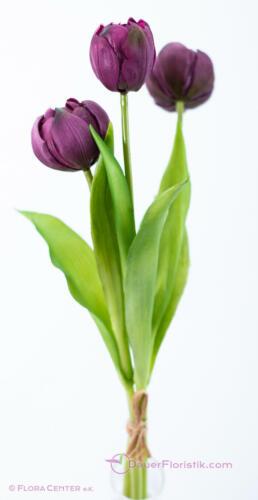 naturgetreu 3 Stiele Paeonientulpen-Bund 37cm violett pflaume aubergine
