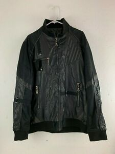 Emporio-Armani-Black-Zip-Up-Polyester-Amazing-Mens-Motorcycle-Jacket-XL-Rare