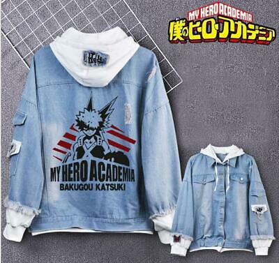 My Hero Academia Cosplay Anime Kapuzen Jeans Jacke Coat Hoodie Hooded Jacket