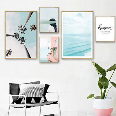 Flamingo Flower Ocean Canvas Poster Nordic Wall Art Print Living Room Decoration