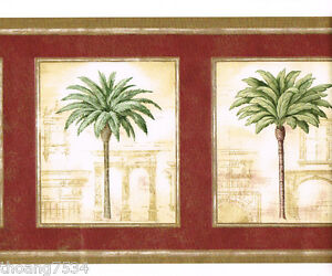 Tuscan-Tuscany-Palm-Tree-Red-Burgundy-Gold-Roman-Architectural-Wall-paper-Border