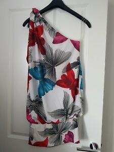MISS-SIXTY-WHITE-RED-PINK-TEAL-BUTTERFLY-PRINT-TOOTS-ONE-SHOULDER-TUNIC-DRESS-M