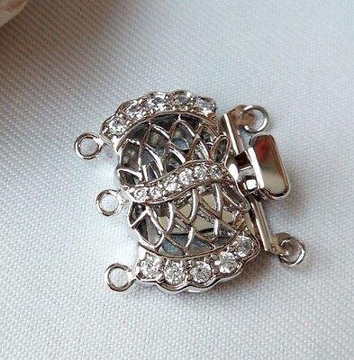 3 strands zirconia inlaid box copper clasp Jewelry marking supply