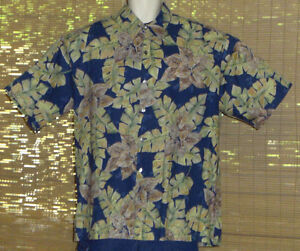 Tori-Richard-Hawaiian-Shirt-Blue-Green-Tan-Tropical-Leaves-Size-XL