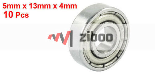 10 Pcs 695Z Dual Metal Shields Deep Groove Ball Bearing 5 x 13 x 4mm Silver Tone