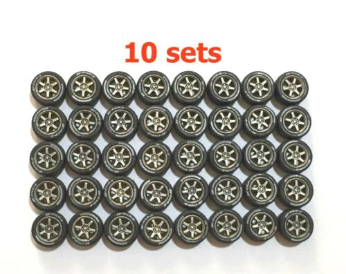 1:64 rubber tires rims axles TE37 fit Kyosho Hot Wheels Tomica diecast - 10 sets