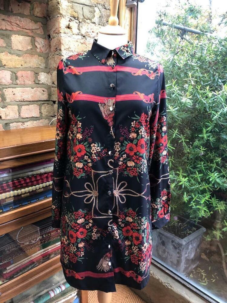 * Asos Sample * Parisien Uk 8 Tall Vintage Floral Italien Imprimé Chemise Noire Robe