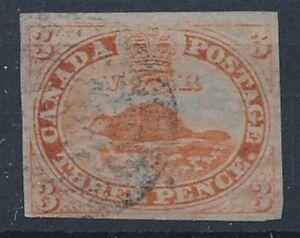 [56145] Canada 1851 Rare Beaver stamp Used Very Fine signed Brun $1400