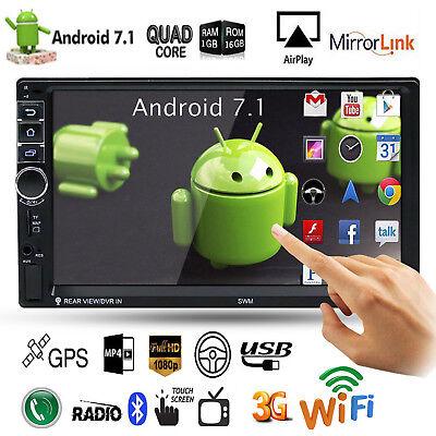"Quad Core Android 7.1 3G WiFi 7"" 2DIN GPS Autoradio Bluetooth Stereo MP5 MP3 FM"