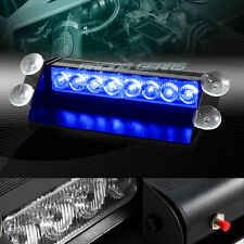 8 LED BLUE EMERGENCY CAR TRUCK DASHBOARD WARNING FLASH STROBE LIGHT UNIVERSAL 9