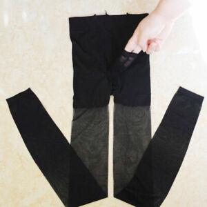 Men-Footless-Sheer-Nylon-Pantyhose-Tights-Stockings-Crotch-Close-Sheath-Open