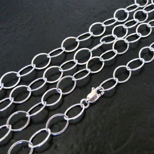16 Inch .925 Sterling Silver 9x6mm Oval Chain Necklace Assembled by Hand