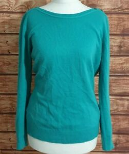 Ladies-Jumper-Jade-Green-Size-UK-12-Button-Shoulder-Fine-Knit-Long-sleeve-Womens