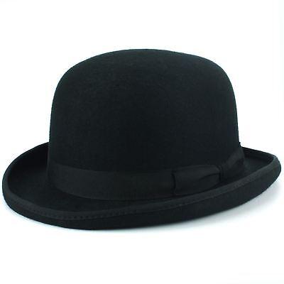 BLACK FELT BOWLER HAT MENS LADIES FANCY DRESS COSTUME VICTORIAN 55CM 58CM 60CM