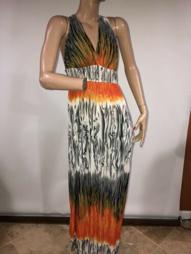 Shui Si Qing Women's orange & Black Long Maxi Dres