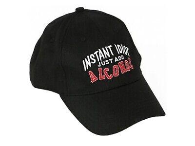 "Unisex Novelty /""INSTANT IDIOT JUST ADD ALCOHOL/"" Slogan Baseball Cap"