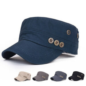 999e336634d Image is loading Classic-Plain-Hat-Vintage-Army-Military-Cadet-Style-