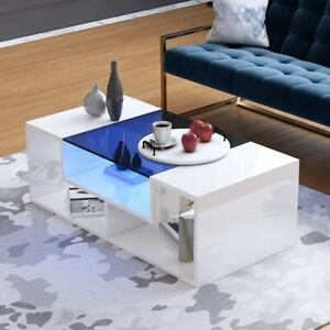 Details About Modern High Gloss Led Coffee Tea Table With Glass Top Living Room Side Table