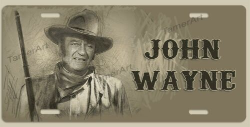 JOHN WAYNE ARTWORK WESTERN DRAWING  License Plate  Made in USA