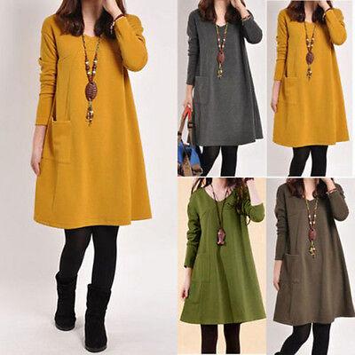 S-5XL Plus Mori Girls Long Sleeve V Neck Casual Solid Kaftan Cotton Mini Dress