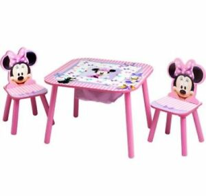 Image is loading Minnie-Mouse-Table-Chairs-Set-Furniture-Play-Kids-  sc 1 st  eBay & Minnie Mouse Table Chairs Set Furniture Play Kids Toddler Game Color ...