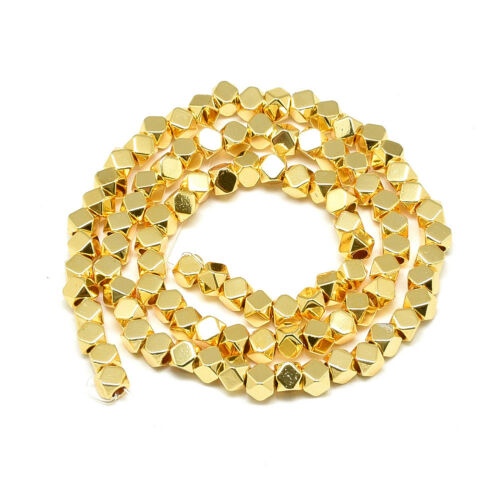"""15.7/"""" Strd Gold Plated Hematite Stone Beads Faceted Polygon Loose Beads Tiny 4mm"""