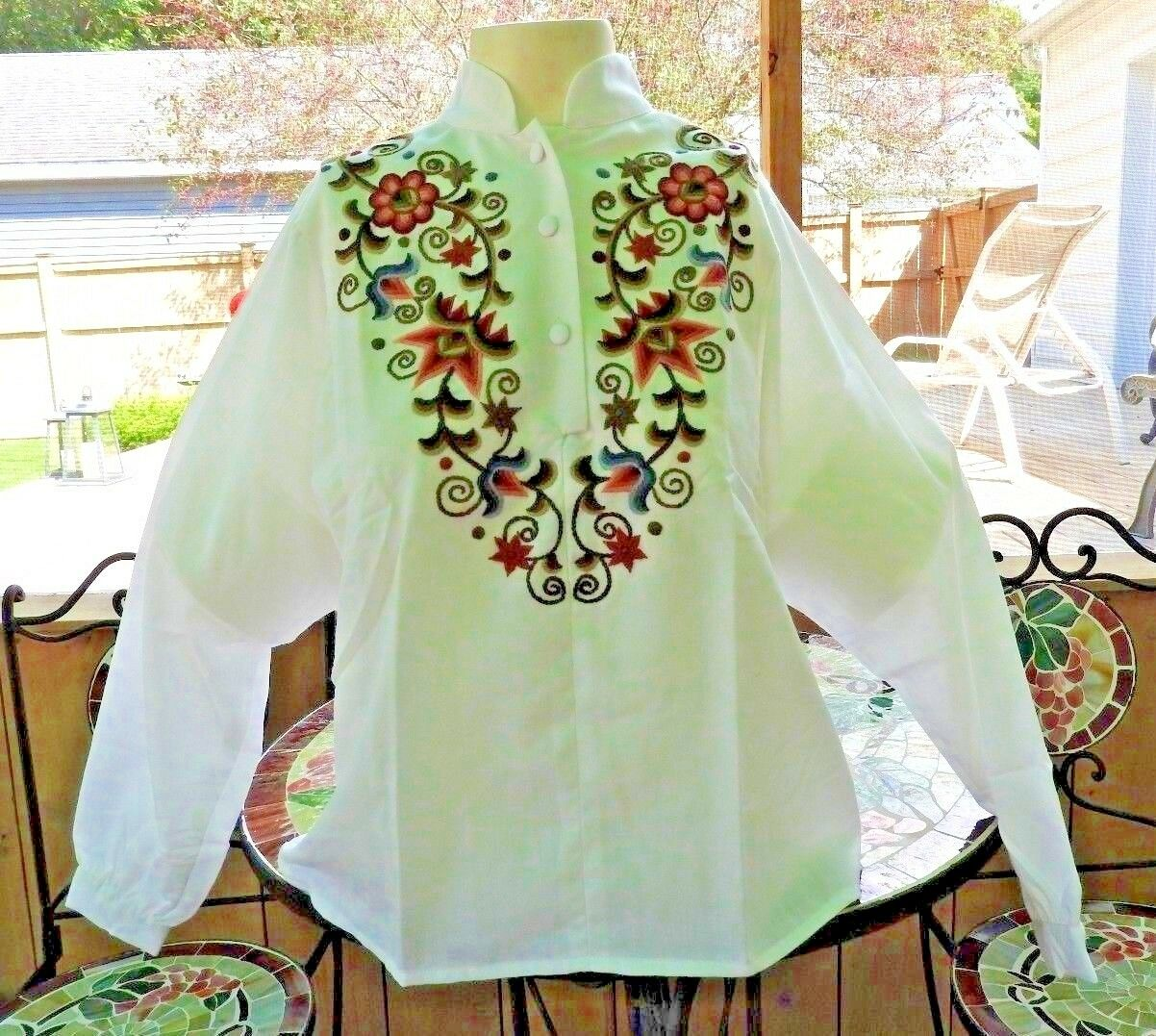 Vintage 80's Blouse Embroidery Hungarian Traditio… - image 3