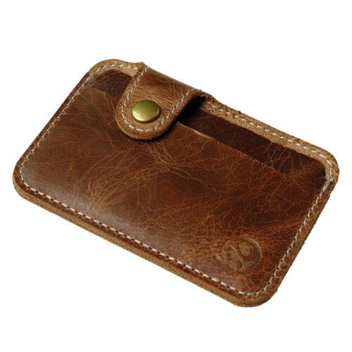 Mens Vintage Brown Leather Wallet Credit Card Case Holder Sleeve Case Pouch
