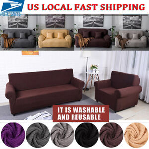 Details About 1 4 Seater Comfortable Stretch Elastic Fabric Sofa Cover Sectional Couch Covers