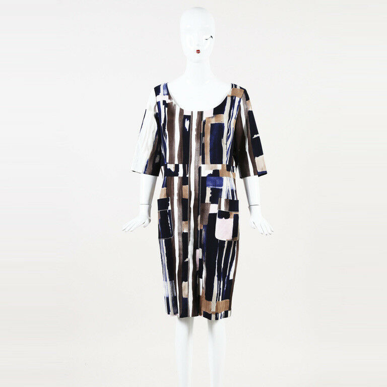Oscar de la Renta Printed Cotton Sheath Dress SZ 10