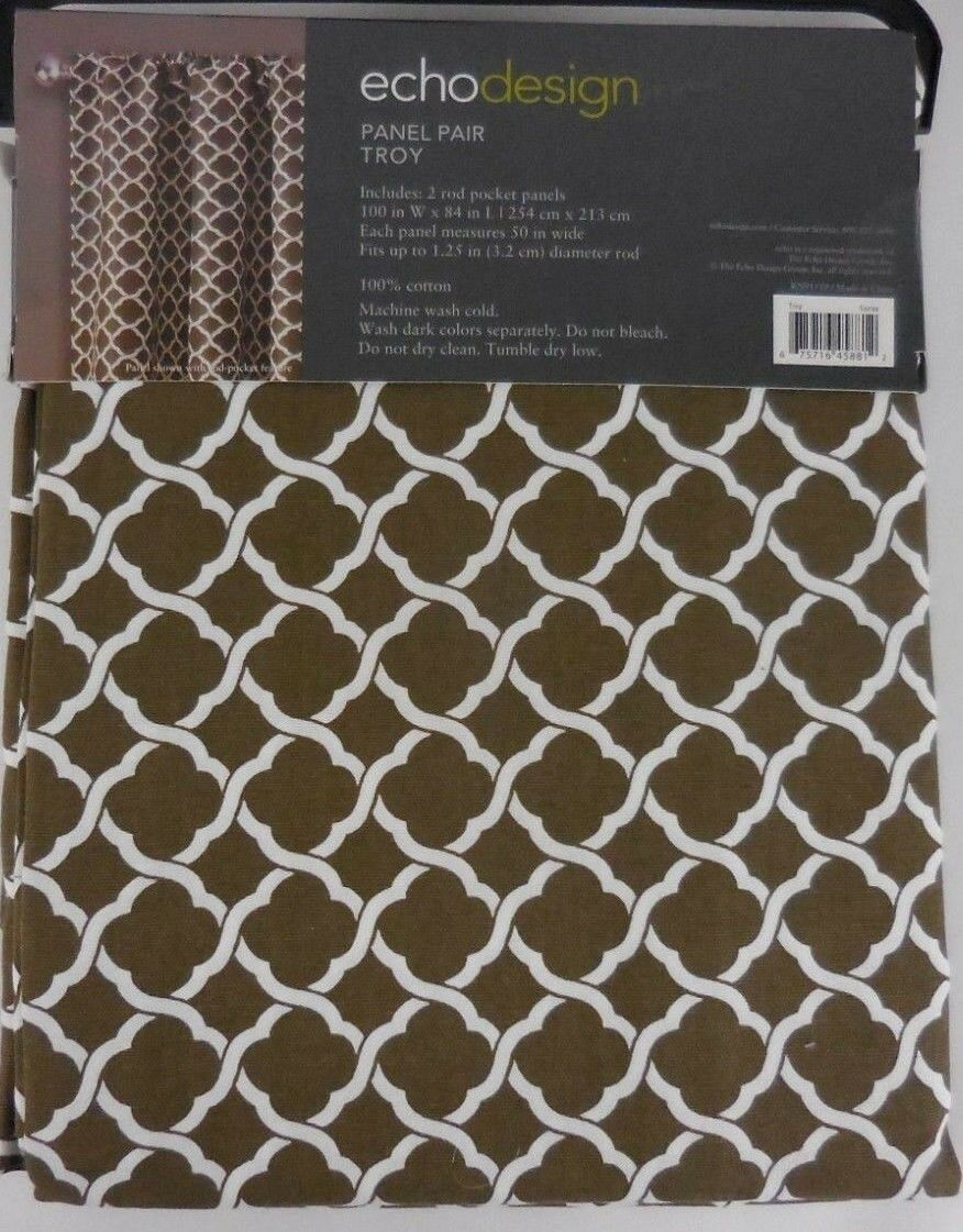 Echo Design Drapes 2 window Panels braun Weiß 84  long lattice New