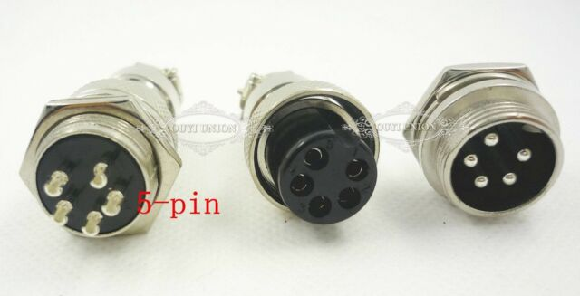 2PCS GX 16MM 5-Pin Male Female Aviation Plug Panel Power Chassis Metal Connector