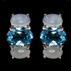 EARTH-MINED-8X6MM-AAA-SWISS-BLUE-TOPAZ-amp-OPAL-STERLING-SILVER-925-EARRING