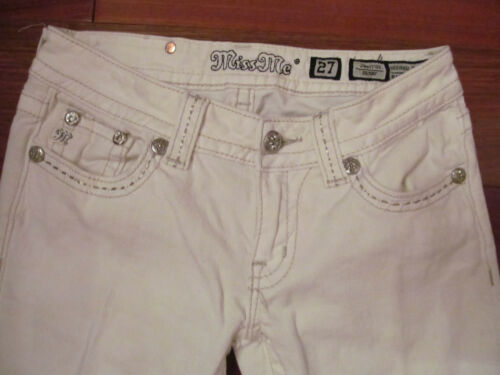 Stertchy Skinny White lembo con Miss Me 27 in pizzo metallo Jeans in argento qgEIWwFZqT