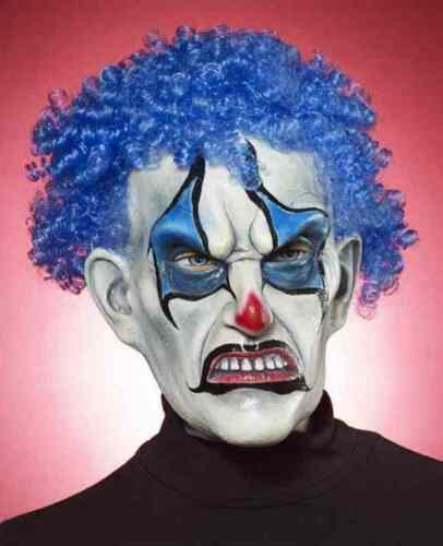 Psycho Blue Clown Mask Scary Killer Dress Up Halloween Adult Costume Accessory