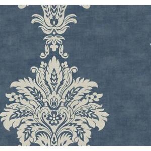 Wallpaper-Designer-Large-Ivory-Damask-Stripe-on-Blue-Background