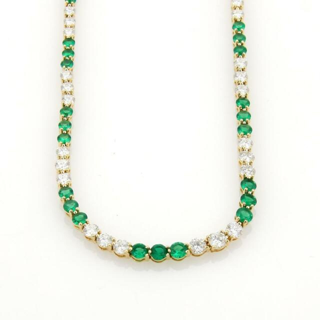 Tiffany & Co. 9.50ct Diamonds Emerald 18k Yellow Gold Graduated Tennis Necklace