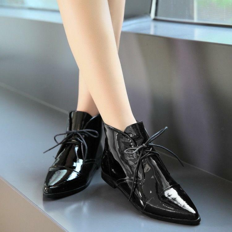 Womens Pointy Toe patent Leather Flat Heels Ankle Boots Lace Up High Top Shoes