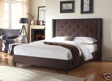BROWN Fabric WingBack QUEEN Size Platform Bed Frame & Slats Modern Home Bedroom