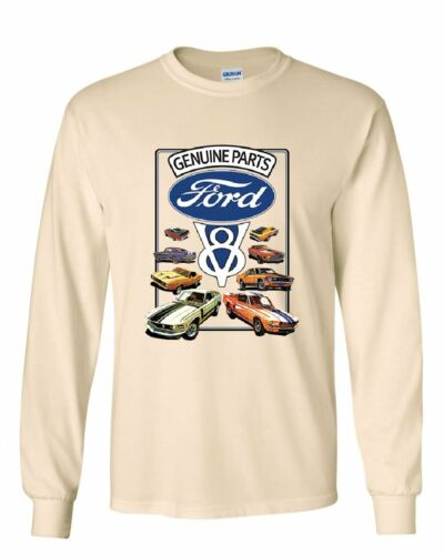 Ford Genuine Parts Long Sleeve T-Shirt American Classic Muscle Cars V8 Motor Tee