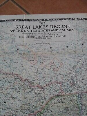 1953 National Geographic Map of The Great Lakes Region United States /& Canada