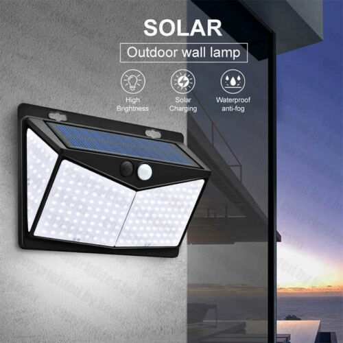 208 LED PIR Motion Sensor Solar Power Garden Light Outdoor Yard Lamp Waterproof