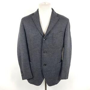 Boglioli-Sakko-Dover-Herren-Gr-52-Grau-Wolle-Ungefuettert-3-Knopf-Blazer-Jacke
