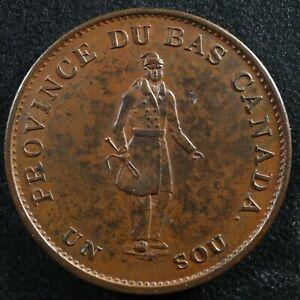 LC-8A1 Halfpenny token Un sou 1837 Lower Bas Canada City Bank Breton 522