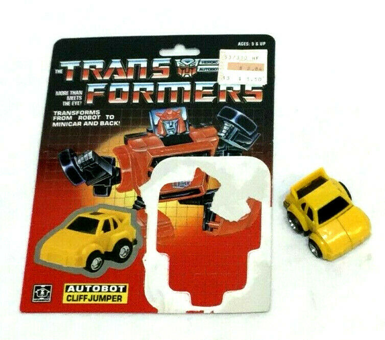 1984 G1 Transformers Cliffjumper Gelb RARE Complete & Cardback Uncut Prerub