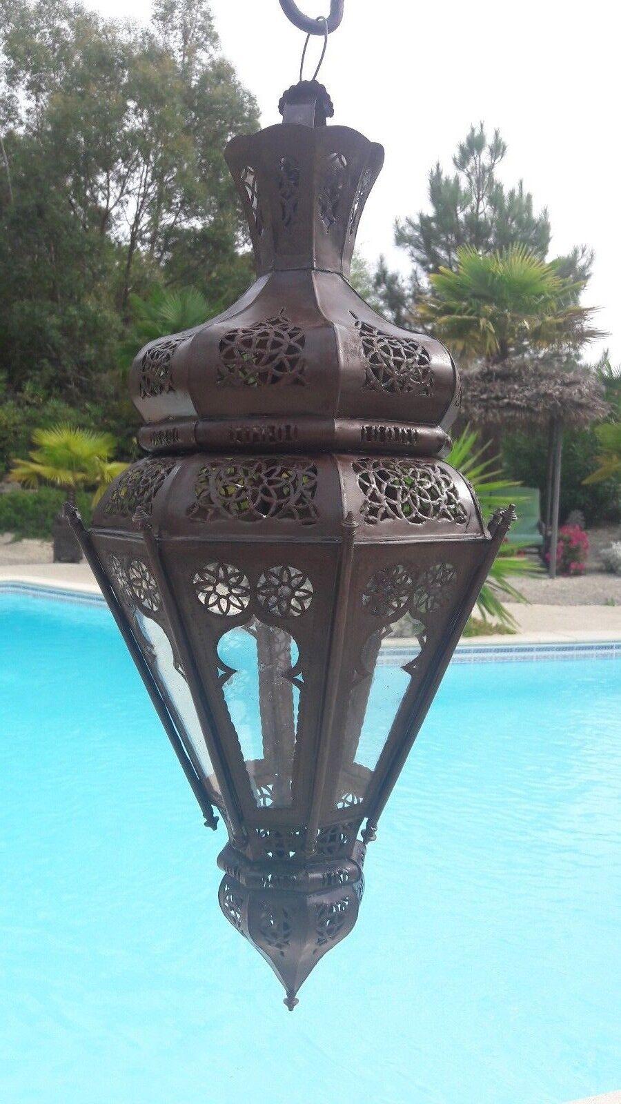Lustre Marocain fert hu forgé hu fert lampe lanterne plafonnier applique luminaire 70 cm 80a698